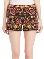 Alice + Olivia Marisa Embroidered Back Zipper Shorts