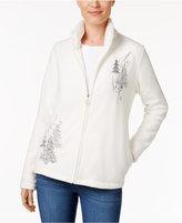 Karen Scott Petite Holiday Graphic Fleece Jacket, Only at Macy's