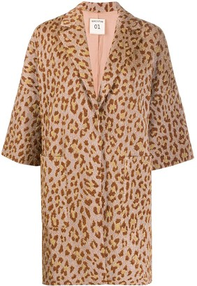 Semi-Couture Oversized Leopard Print Coat
