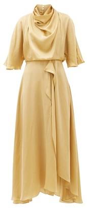 Roksanda Senja Draped Faille Midi Dress - Gold