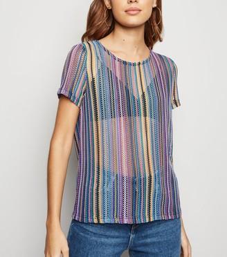 New Look JDY Rainbow Stripe Mesh Top