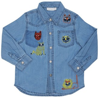 Stella McCartney Kids Chambray Shirt W/ Embroidered Cats