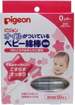 Pigeon Baby Slim Cotton Swab Coated with Plant-based Oil for 0 Month or older Baby (Made in Jpan)