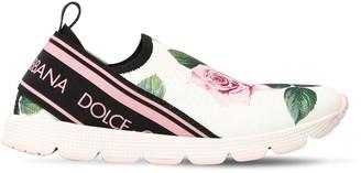 Dolce & Gabbana Rose Printed Knit Slip-On Sneakers