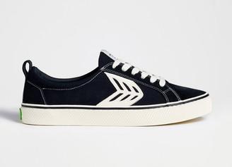 Cariuma CATIBA Low Stripe Black Suede and Canvas Contrast Thread Sneaker Men