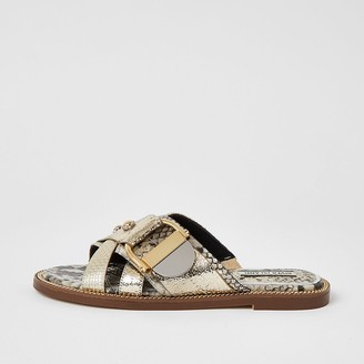 River Island Gold cross strap ring flat sandals