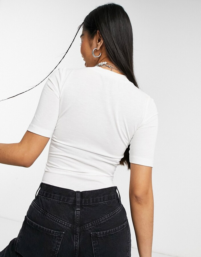 Thumbnail for your product : Collusion fitted short sleeve t-shirt in white