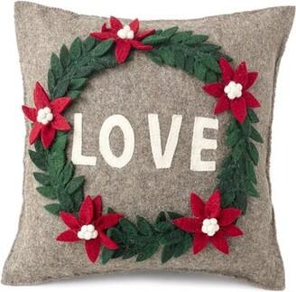 Arcadia Home Love Wreath Wool Throw Pillow Cover Arcadia Home
