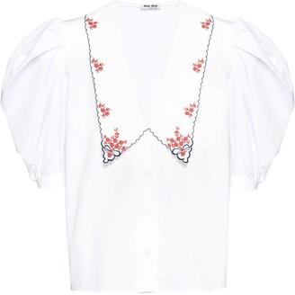 Miu Miu Embroidered Pointed Collar Blouse