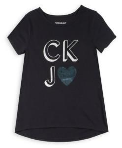 Calvin Klein Big Girls Ckj Heart Flip Sequin Tee