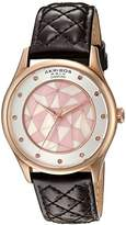 Akribos XXIV Women's Quartz Rose-Tone Case with Genuine Diamond Hour Markers and Mother-of-Pearl Mosaic Dial on Brown Quilted Genuine Leather Strap Watch AK925BR