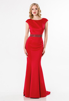 Terani Couture Chic Bateau Fit and Flare Gown with Teardrop Cutout 1522E0526A