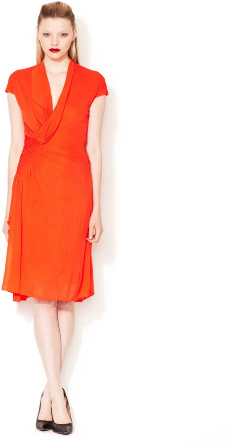 Narciso Rodriguez Pleated Wrap Bodice Dress