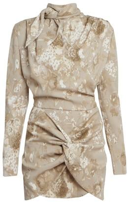 Magda Butrym Floral Silk Tieneck Mini Dress