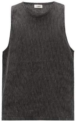 COMMAS Striped Linen Tank Top - Mens - Black White