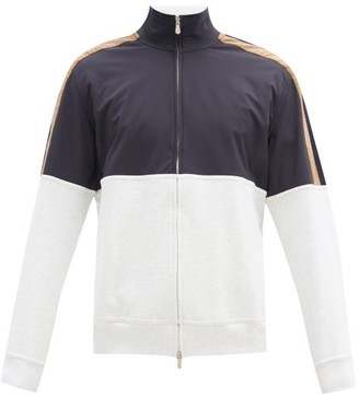 Brunello Cucinelli Panelled Zip-up Cotton-blend Track Jacket - Blue Multi