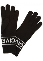Givenchy Black Logo Wool Gloves