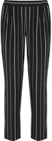 Equipment Hadley Striped Washed-silk Tapered Pants - Black
