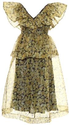Ganni Floral organza midi dress