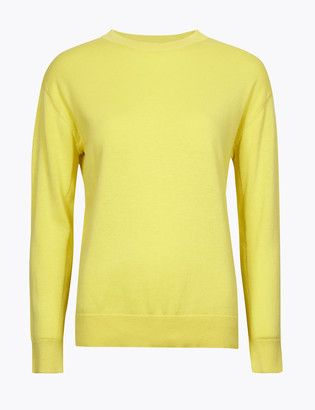 Marks and Spencer Pure Cotton Crew Neck Relaxed Jumper