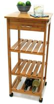 Lipper Bamboo Mobile Kitchen Cart with Wine Rack