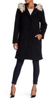 Eliza J Removable Faux Fur Trim Mid-Length Padded Coat