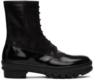 LEGRES Black Leather Rain Boots