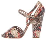 Tabitha Simmons Perforated Snakeskin Sandals