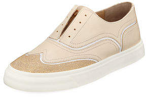 Giuseppe Zanotti Leather Beaded Laceless Wing-Tip Sneakers