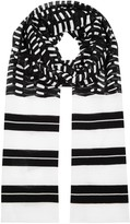 M Missoni Monochrome Striped Fine-knit Scarf
