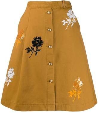 Tory Burch Embroidered Denim Skirt