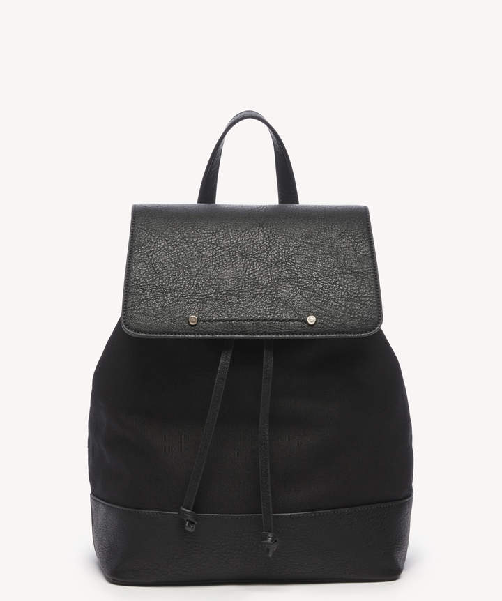 Sole Society Women's Dipia Backpack Canvas Black One Size Vegan Leather Cotton From