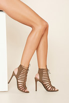 Forever 21 FOREVER 21+ Caged Faux Suede Heels