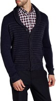 Kenneth Cole New York Wool Blend Striped Shawl Collar Sweater