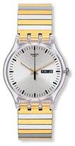 Swatch Women's 41mm Two Tone Steel Bracelet Plastic Case Quartz Watch Suok708a