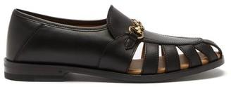 Gucci Talete Horsebit Cutout Leather Loafers - Black