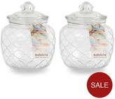 Sabichi Embossed Jars 1400 Ml Set Of 2