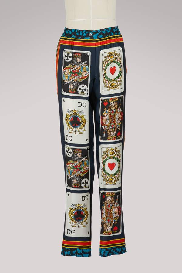 Dolce & Gabbana Cards silk pants