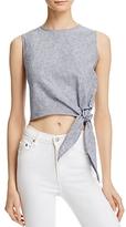 Aqua Stripe Tie-Front Crop Top - 100% Exclusive