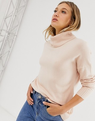Only long sleeve roll neck jumper-Pink