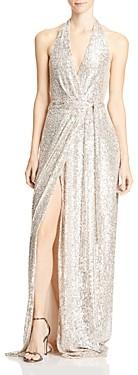 Halston Sequin Halter Wrap Gown