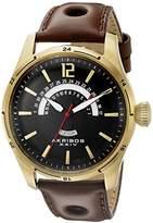 Akribos XXIV Men's AK850YG Round Black Dial Three Hand Quartz Gold Tone Strap Watch