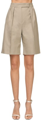 Max Mara Pleated Cotton Twill Shorts