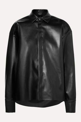 A.W.A.K.E. Mode Business Woman Asymmetric Faux Leather Shirt - Black