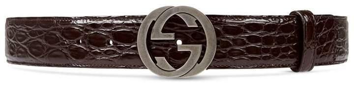 Gucci Croco belt with interlocking G buckle