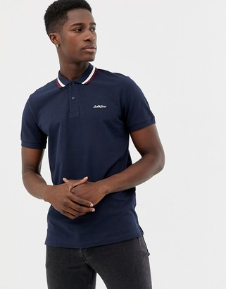 Jack and Jones Originals polo with logo and tipped collar in navy