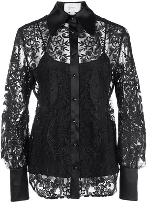 Marchesa Embroidered Lace Shirt