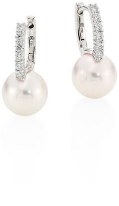 Mikimoto Classic 8MM White Cultured Akoya Pearl, Diamond & 18K White Gold Drop Earrings