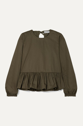 Molly Goddard Wilfred Cotton-twill Peplum Top - Green
