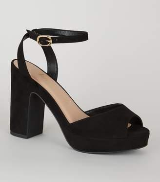 New Look Wide Fit Ankle Strap Platform Heels